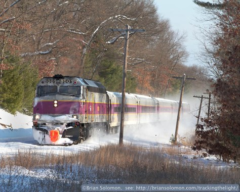 Screamer kicks up snow near Shirley, Massachusetts. Canon EOS 7D with 100mm lens. Contrast adjusted in post processing.