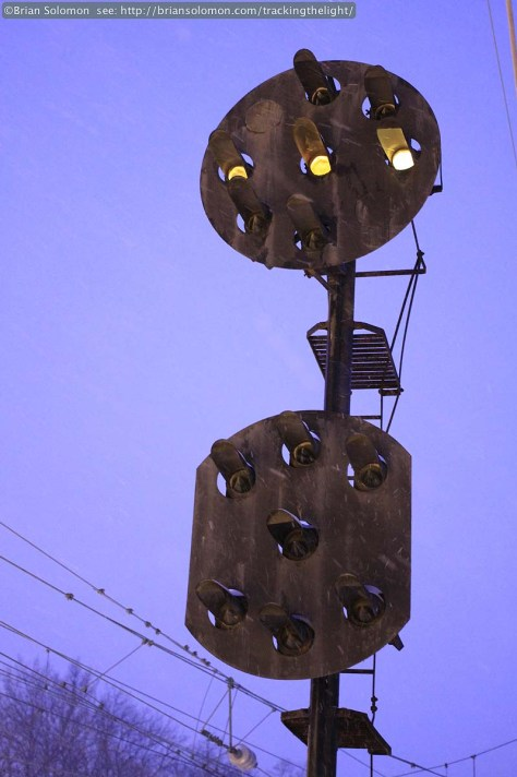 Former Pennsylvania Railroad position light signal shows a 'stop' aspect. January 21, 2014. Canon EOS 7D photo.