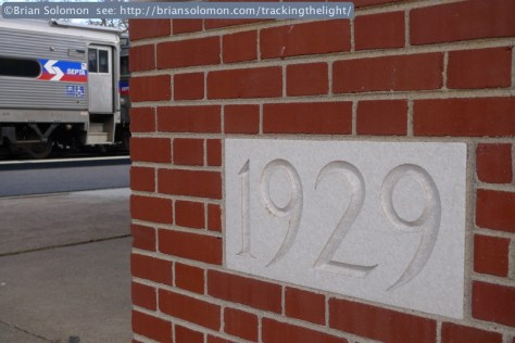 West Trenton station's build date is carved in stone. Lumix LX3 photo.