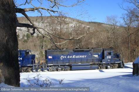 Canon 7D in-camera Jpg of Pan Am Railways 310 east of Shelburne Falls, Massachusetts. To my eye, this image appears too bright. Had it been a color slide I'd say it was about a half stop 'over exposed.' This Jpg was created using the Canon's picture style profile called 'landscape' (one of several built in Jpg picture styles).