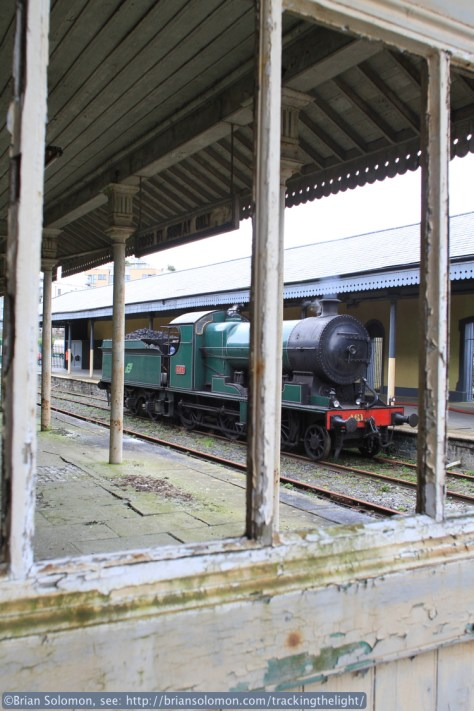 Resting on the disused Galway side of Mullingar station, 461 takes water in preparation for its run back to Dublin.