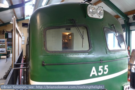 Irish Rail's A55 is the locomotive on display in the Hell's Kitchen pub. Although the pub was closed, owner Sean Browne opened the doors for Noel Enright and I.