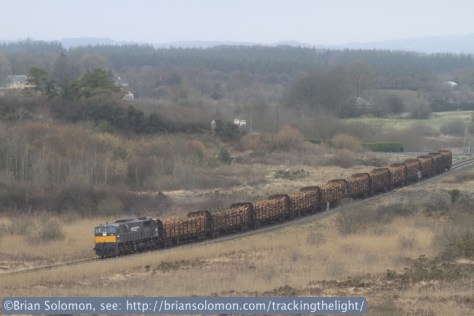 Irish Rail 078 leads the Ballina Timber near Ballyvary, County Mayo on March 13, 2014. Exposed using a Canon EOS 7D fitted with a 200mm lens.