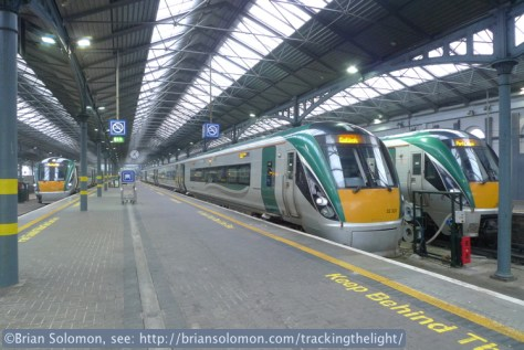 Another view of Rotem ICRs at Heuston. My train is the closest to the camera. Exposed with a Lumix LX3.