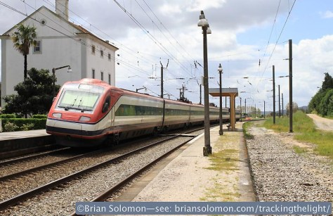 Trailing view of a CP Pendolino passing Mato de Miranda, Portugal on April 3, 2014. Canon EOS 7D with 20mm lens.