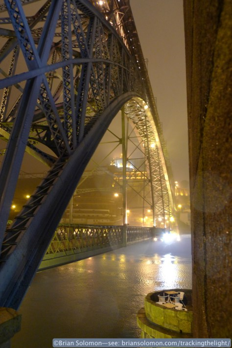 On the evening of April 4, 2014, a thick sea mist blanketed Porto which made for some stunning lighting effects. The mist no only adds depth to the image but diffused the artificial lighting which makes for better contrast. Lumix LX3 photo.