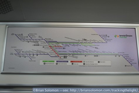Dublin Area Railway map in Irish.