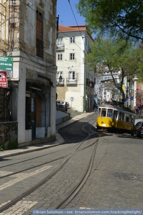 Steep gradients and colourful old buildings are part of the attraction of Lisbon's tram network. They wouldn't have the same charm serving suburban tower block apartments.