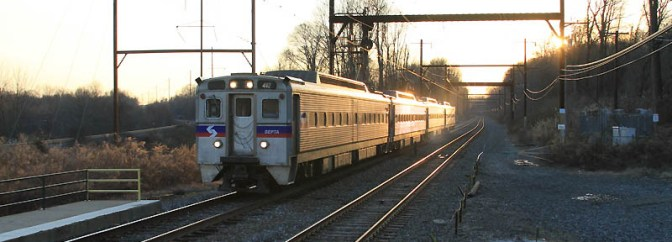 SEPTA at Sunset, Neshaminy Falls—Tracking the Light Daily Post.