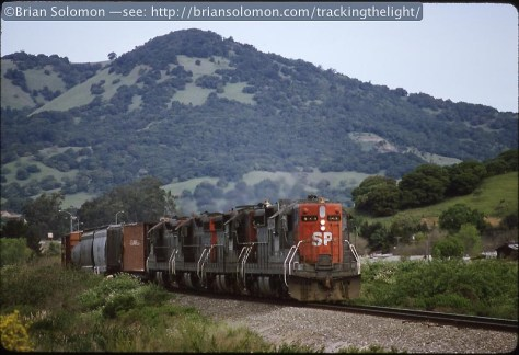 NWP Sprint Train at Novato, California in April 1992. Exposed on Kodachrome with a Nikon F3T with f1.8 105mm lens.