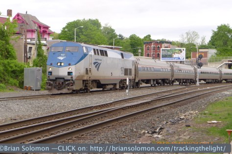 LX-7 view of Amtrak 54, the Vermonter, at Palmer on May 24, 2014. The camera was set to simultaneously expose Jpg and RAW. It does an excellent job retaining highlight detail.