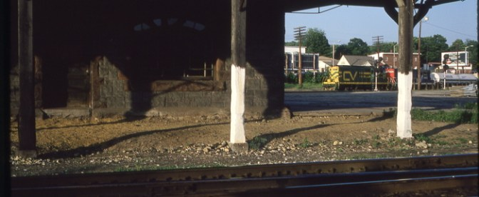 Central Vermont GP9s, Palmer, Massachusetts, August 1989.