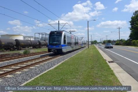 Light rail along Norfolk Southern in suburban Charlotte.