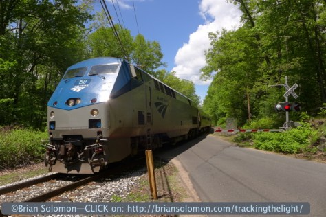 Amtrak train 57, the southward Vermonter rolls across Federal Street in Belchertown, Massachusetts on May 25, 2014. Exposed with a Lumix LX-7.