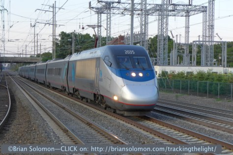 Amtrak's Acele Express blasts through Princeton Junction at more than 100mph. Exposed with a Lumix LX-7.