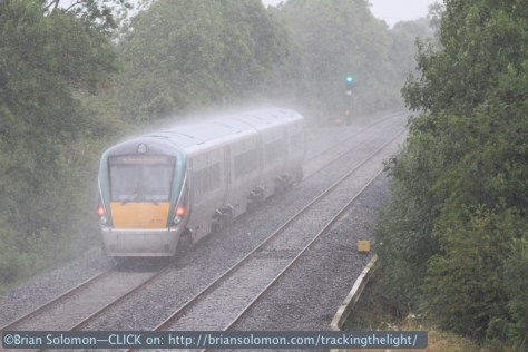 An uproad ICR races toward Dublin in the rain. Canon EOS 7D with 200mm lens.