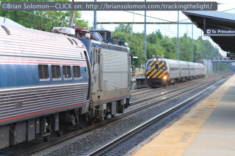 Think fast and act faster; I had only a few moments to turn around and catch this running meet between Amtrak Keystone trains. Both are moving at more than 100 mph!
