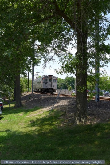 NJ Transit's Dinky approaches Princeton Junction on June 30, 2014.