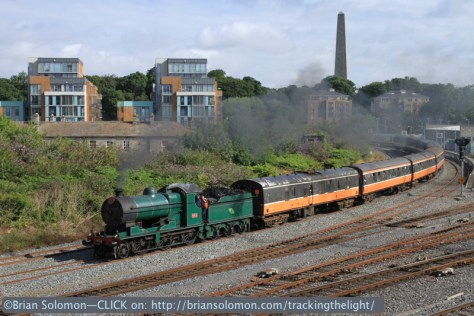 The Marble City tour passes Islandbridge Junction near Heuston Station in Dublin on the morning of July 27, 2014. Exposed with a Canon EOS 7D and 40mm pancake lens; ISO 200 f8 1/500 sec.