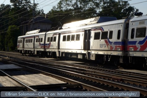 SEPTA Silverliner Vs catch the glint at Bryn Mawr on June 30, 2014.