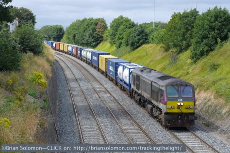 Not long after the Mark4 had passed, the IWT Liner with locomotive 206 came into view. While not unheard of, it's a bit unusual to find an Enterprise painted class 201 working freight in 2014. Stranger things have happened, but I was happy enough to catch this in the sun. Lumix LX7 photo.