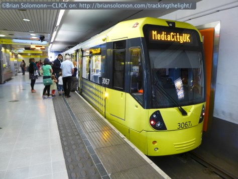 Manchester Metrolink's Piccadilly Station is beneath the mainline railway terminal of the same name. Lumix LX7 photo.