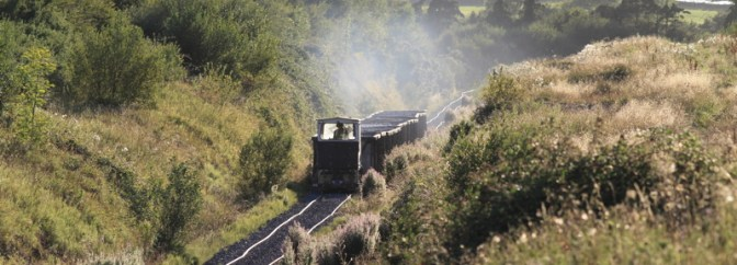 Irish Narrow Gauge: Bord na Mona Approaching Sunset