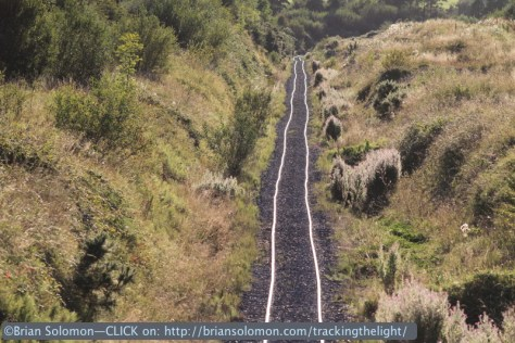 Bord na Mona's three-foot gauge tracks looking west toward Shannon Bridge in August 2014. Canon EOS 7D with 200mm lens.