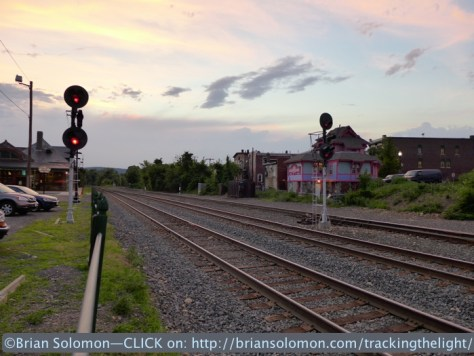 Here's the HDR image. While it retains sky and track detail, it radically altered the effect of sunset. Is this a more realistic portrayal of the scene? Exposed with Lumix LX7 in HDR 'scene' mode.