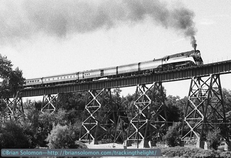 Tight crop on the locomotive from the same b&w negative. SP Daylight 4449 crosses the curved tower-supported plate girder viaduct at Redding, California on August 31, 1991. Exposed using a Leica M2 with 50mm Summicron lens.