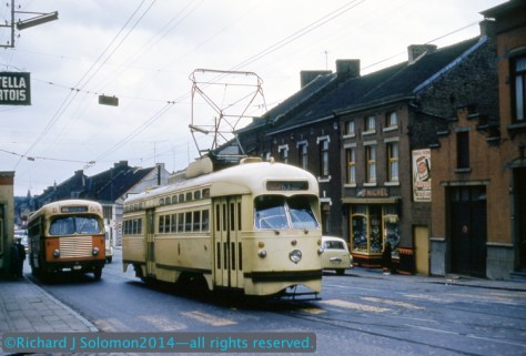 On August 20, 1960, Richard exposed a Kodachrome slide of this American-style PCC car on the streets of Charleroi, Belgium using a Kodak Retina 3C. See comparison photo below.