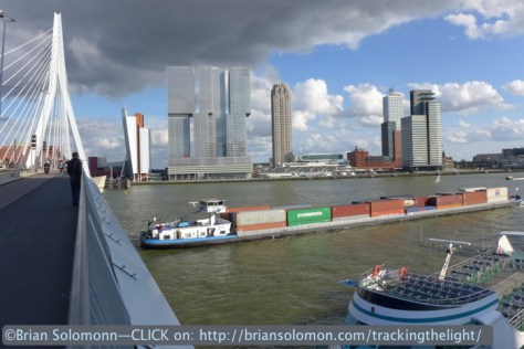 Containers outbound at Erasmusbrug, Rotterdam. Lumix LX7 photo.
