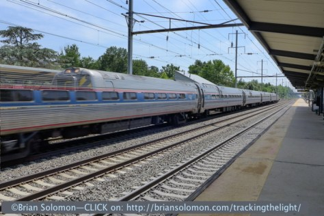 I thought I'd try the HDR feature on a rapidly moving train. Here one of Amtrak's Keystone trains is passing Princeton Junction at speed. Notice the effect of double exposure where the cab car is ghosted into the coach. This is curious aberration, but probably not the best solution for railway action photography.  I don't have a 'non'-HDR image of this scene. Princeton Junction, exposed with Lumix LX7 in HDR 'scene' mode.