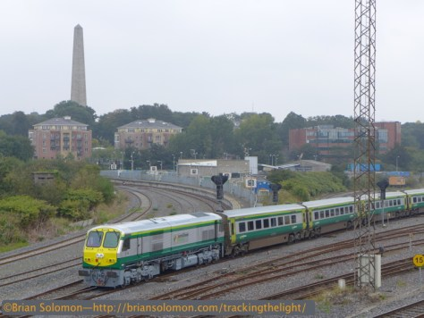 Irish Rail 215 works at the back of a Mark4 set from Cork, seen approaching Heuston Station in Dublin at 12:45pm on September 18, 2014. Lumix LX-7 ISO 80, f3.5 1/500th second.