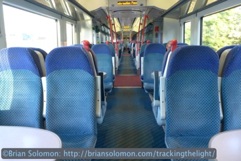 Interior of a CAF-built diesel railcar. Lumix LX7 photo.
