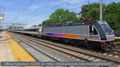 This NJ Transit train had paused at Princeton Junction in high midday June sun making for an ideal opportunity to test the effect of HDR. This my 'normal' non-HDR comparison image. Note the nearly opaque underside of the locomotive where wheels and equipment are lost in an inky black. Princeton Junction, exposed with Lumix LX7 in 'A' mode.