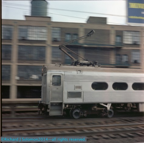 A brand new Pennsylvania Railroad Budd Silverliner rolls through North Philadelphia. Richard was panning with his Rolleiflex Model T. He exposed this on Kodacolor negative film, which I scanned using an Epson V600.