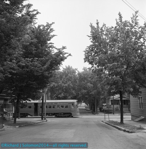 Richard has made good use of his Rolleflex cameras. He bought the first on a trip to Germany in 1960, and used it to expose this classic image of the North Shore Electroliner on the streets of Milwaukee in June 1961. Richard's North Shore photos have been published by David P. Morgan in TRAINS Magazine and by William D. Middleton in his books.
