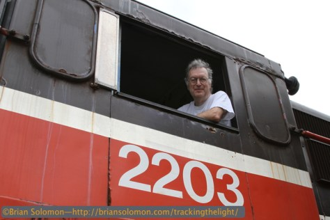 Richard goes for a spin at the Railroad Museum of New England. Photo by Brian Solomon with Canon EOS 7D.