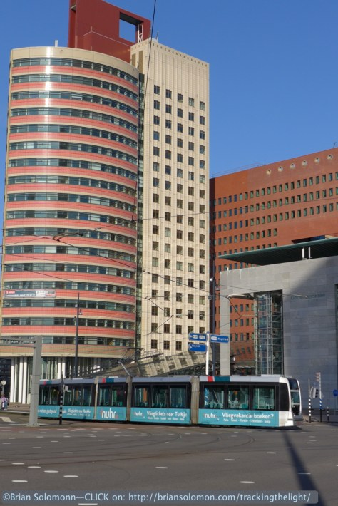 Trams with skyscrapers, Rotterdam. Lumix LX7 photo