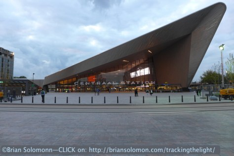 In the fading dull light with a North Sea sky; Rotterdam Centraal as photographed in August 2014. Lumix LX7.