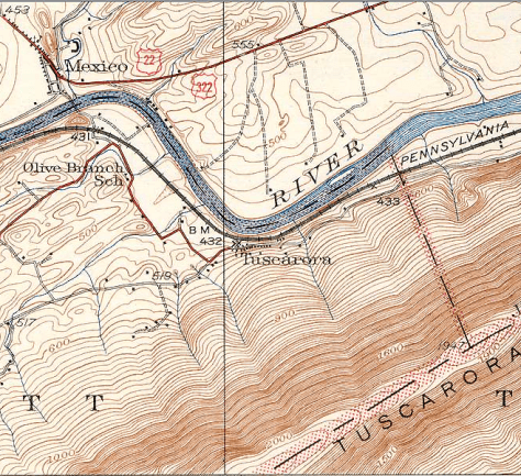 USGS topo map showing Mexico and Tuscarora, Pennsylvania.
