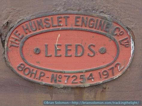 Hunslet builders plate on a old Bord na Mona locomotive. Lumix LX7 photo.