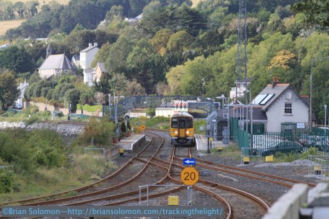 Afternoon view looking compass west at Cobh Junction toward Glounthaune Station. Canon EOS 7D with 200mm lens.