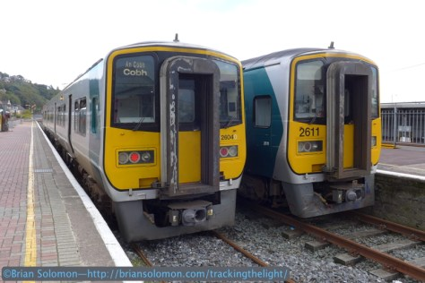 I'm nearly in the same place for this photo as I was in the 2013 image above. Without the canopy to add a balancing element, I focused more intently on the 2600-series diesel railcars. The lighting in both photographs is similar.