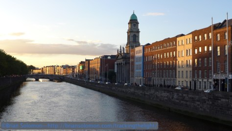 River Liffey at sunset from the Father Mathew Bridge.