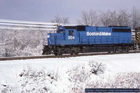 The westward D&H freight was soon on the roll again. There was a time when Boston & Maine GP40-2s seemed very common. Looking back, I didn't make as many photos of them as I now wished I had, and I'm glad to have this 28 year old slide.