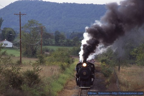 On September 20, 1997, East Broad Top 2-8-2 number 14 tackles the same grade as pictured above. Exposed using a Nikon N90S with Nikkor f.2.8 80-200mm zoom lens.