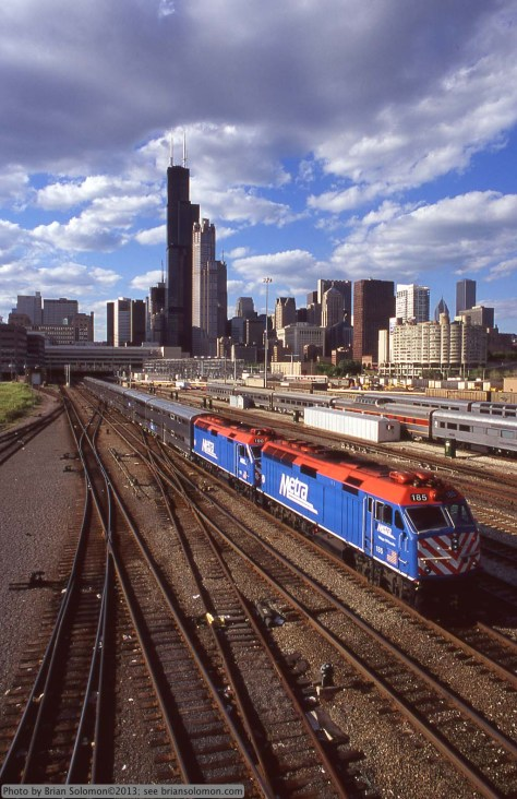 Metra F40Ms at Roosevelt Road, Chicago on June 22, 2004. Exposed with a Nikon F3 with 24mm Nikkor lens, Fujichrome Velvia 100 slide film.