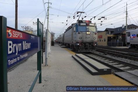 An Amtrak Keystone blitzes Bryn Mawr. Lumix LX7 photo.